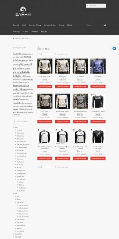 Mẫu thiết kế website bán hàng Áo nỉ nam – ZAHAN.VN – zahan.vn