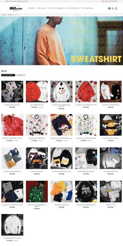 Mẫu thiết kế website bán hàng Sweatshirt – 160STORE – www.160store.com