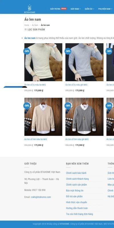 Mẫu thiết kế website bán hàng Áo len nam – GIẢM 50% – Giày công sở nam BTAHOME – btahome.com