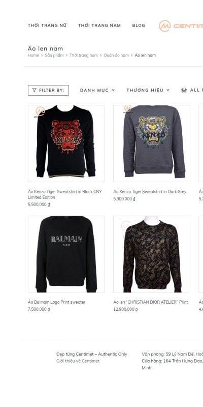 Mẫu thiết kế website bán hàng Áo len nam – Centimet.vn – centimet.vn