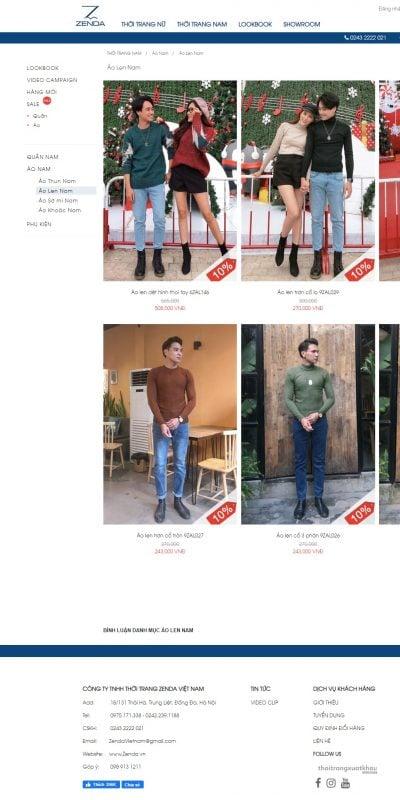 Mẫu thiết kế website bán hàng Áo Len Nam Zenda – Sưởi Ấm Mùa Đông Bằng Phong Cách Thời Thượng – zenda.vn
