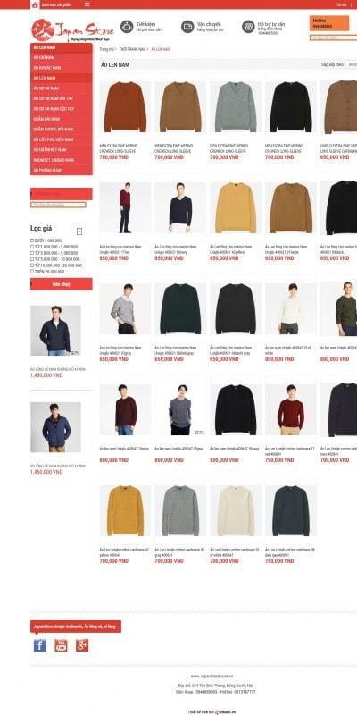 Mẫu thiết kế website bán hàng ÁO LEN NAM – ÁO LEN NAM – japanstore.com.vn