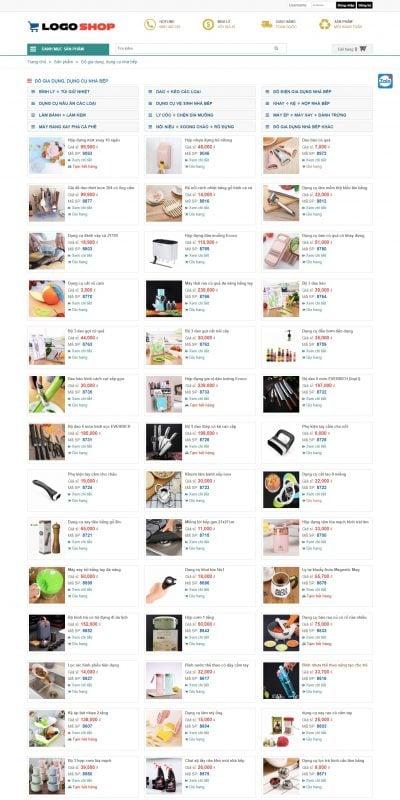 Mẫu thiết kế website bán hàng Đồ gia dụng dụng cụ nhà bếp – dathangsi.vn