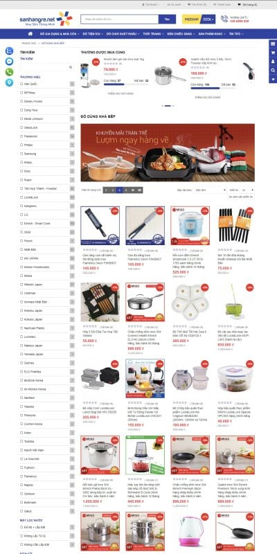 Mẫu thiết kế website bán hàng Đồ dùng nhà bếp – SanHangRe.net – sanhangre.net