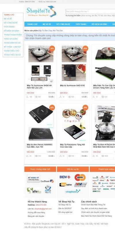 Mẫu thiết kế website bán hàng Bếp Từ Bán Chạy Mọi Thời Đại – shophoitu.com