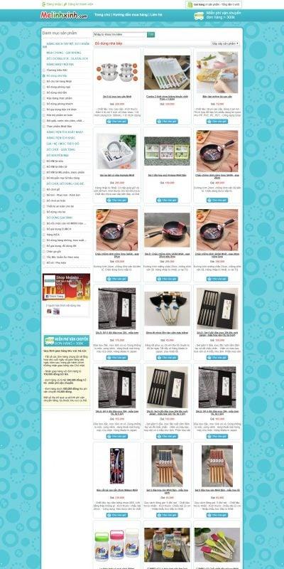 Mẫu thiết kế website bán hàng Đồ dùng nhà bếp – www.melinhxinh.com