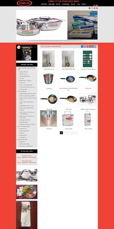 Mẫu thiết kế website bán hàng HÀNG GIA DỤNG- ĐỒ DÙNG NHÀ BẾP – baominhcorp.com.vn
