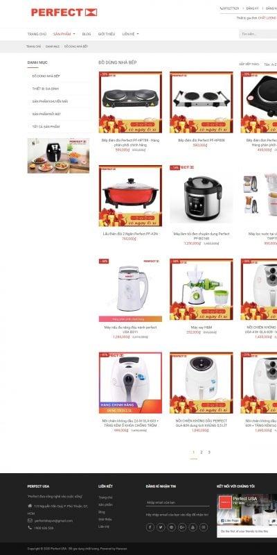 Mẫu thiết kế website bán hàng ĐỒ DÙNG NHÀ BẾP – Perfect USA – Đồ gia dụng chất lượng – perfectusa.com.vn