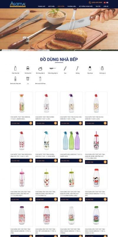 Mẫu thiết kế website bán hàng Đồ dùng nhà bếp – asama.vn