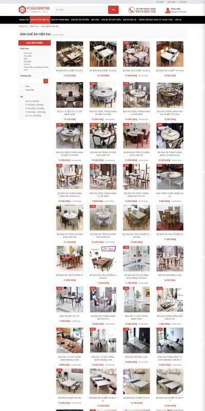 Mẫu thiết kế website bán hàng Bàn ghế ăn hiện đại – noithatvuhai – noithatvuhai.com