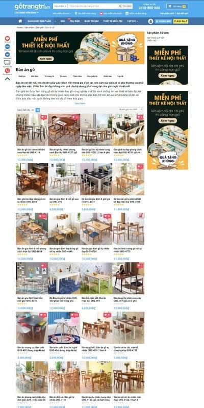 Mẫu thiết kế website bán hàng BÀN ĂN GỖ, BÀN ĂN HIỆN ĐẠI Mẫu Mới Xu Hướng 【HOT 2019】 – gotrangtri.vn