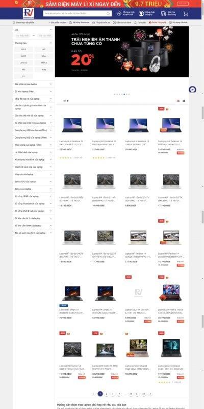 Mẫu thiết kế website bán hàng Mua tivi, máy tính, laptop giá rẻ đến Phong Vũ gần nhất – phongvu.vn