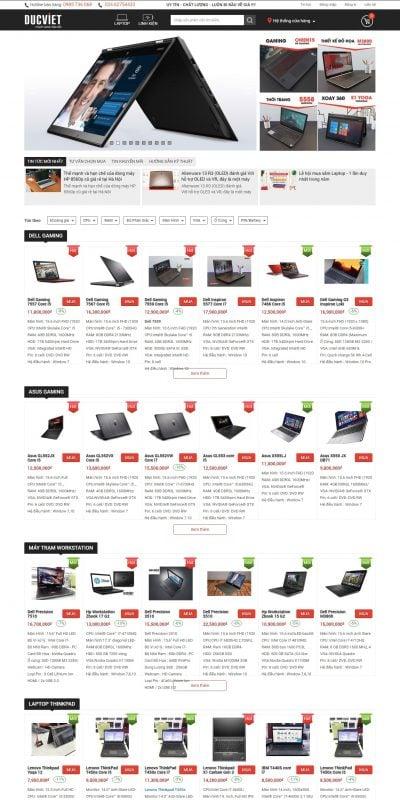 Mẫu thiết kế website bán hàng Đức Việt- Laptop Nhập Khẩu Giá Rẻ Lenovo Thinkpad, HP Elitebook, Del_ – ducvietco.com