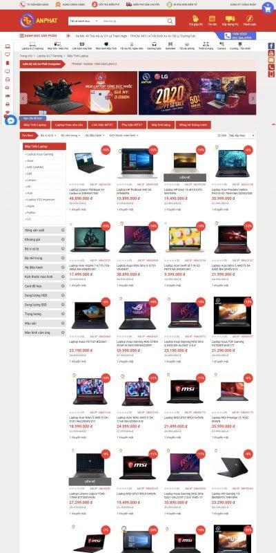 Mẫu thiết kế website bán hàng Laptop, Notebook, Máy tính xách tay giá rẻ – Công ty máy tính An Phá_ – www.anphatpc.com.vn