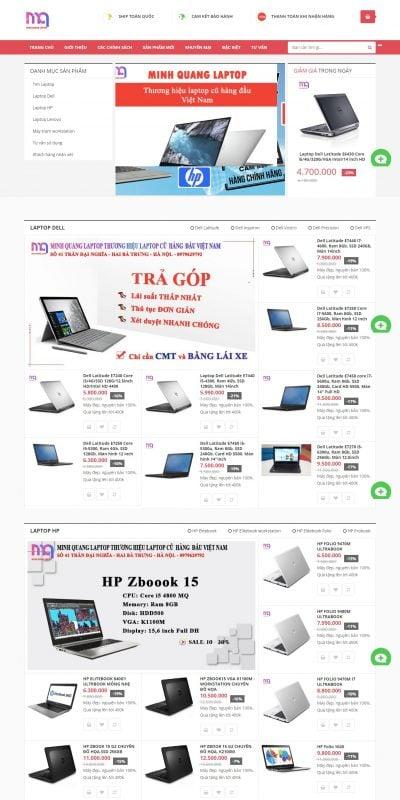 Mẫu thiết kế website bán hàng Minh Quang chuyên laptop cũ chất lượng, giá rẻ hàng đầu Việt nam_ – minhquanglaptop.vn