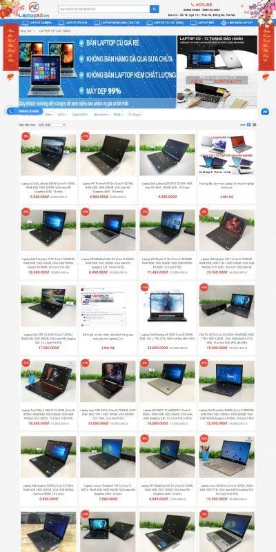 Mẫu thiết kế website bán hàng Laptop cũ, mua bán laptop cũ uy tín tại Hà Nội và trên toàn quốc_ – laptopaz.vn