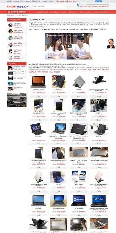 Mẫu thiết kế website bán hàng LAPTOP CŨ GIÁ RẺ – maytinhtrananh.vn