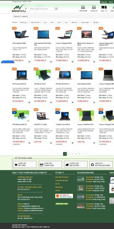 Mẫu thiết kế website bán hàng Laptop cũ uy tín – Bán laptop cũ uy tín tại Hà Nội – minhvu.vn