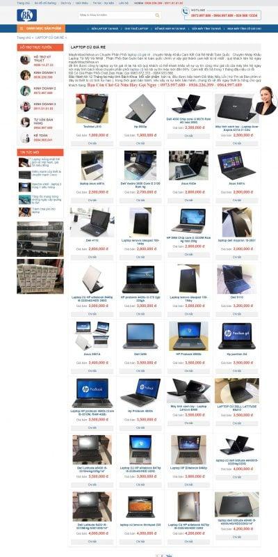 Mẫu thiết kế website bán hàng LAPTOP CŨ GIÁ RẺ – maytinhbachkhoa.vn