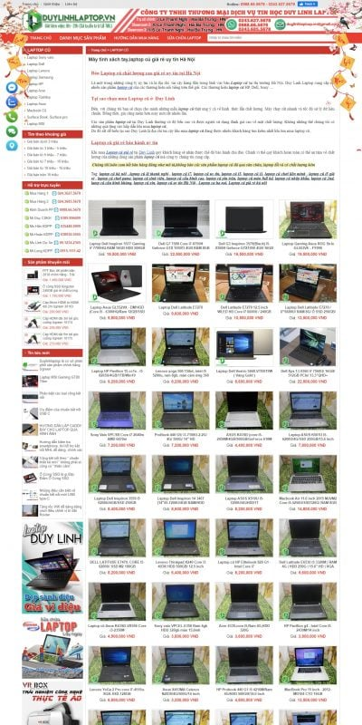 Mẫu thiết kế website bán hàng Máy tính xách tay,laptop cũ giá rẻ uy tín Hà Nội – duylinhlaptop.vn