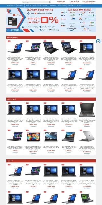 Mẫu thiết kế website bán hàng Trang chủ – Laptop Tê Tê – laptoptt.vn