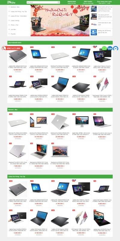 Mẫu thiết kế website bán hàng Trang chủ – Laptop cũ, bán laptop cũ, 2NLaptop – LAPTOPNGOCNHI.COM_ – laptopngocnhi.com