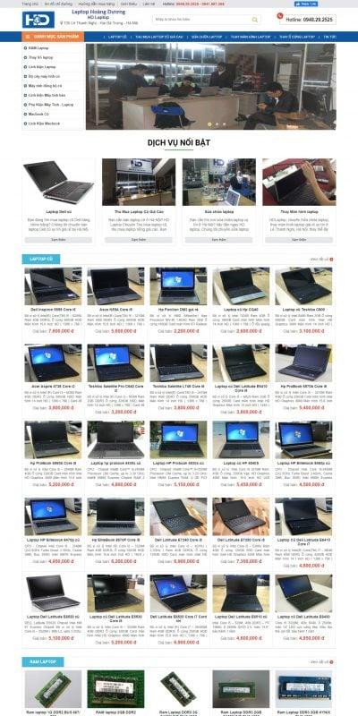 Mẫu thiết kế website bán hàng HD Laptop – Địa Chỉ Mua Bán Laptop Cũ Uy Tín ở Hà Nội – hdlaptop.com.vn