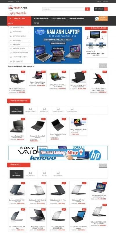 Mẫu thiết kế website bán hàng Laptop cũ – bán laptop cũ hà nội giá rẻ – NamAnhLaptop – namanhlaptop.vn