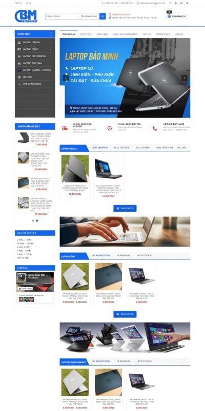 Mẫu thiết kế website bán hàng Laptop Bảo Minh – Chuyên Laptop cũ giá tốt – laptopbaominh.com