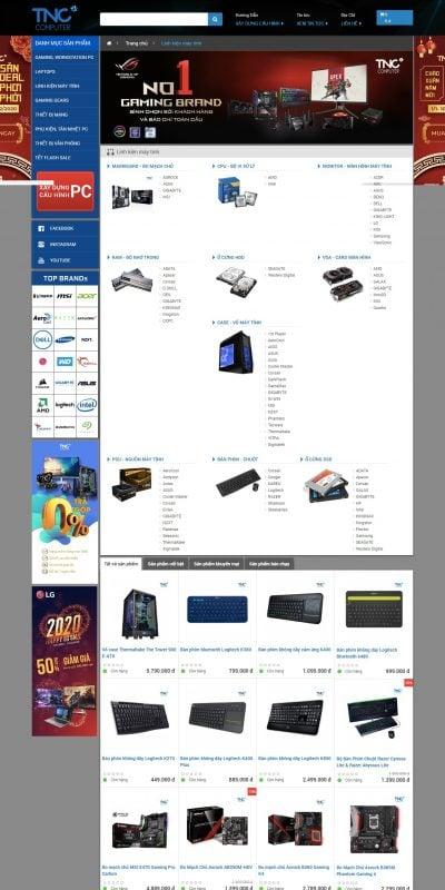 Mẫu thiết kế website bán hàng Linh kiện máy tính – www.tncstore.vn