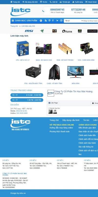 Mẫu thiết kế website bán hàng Linh kiện máy tính – maihoang.com.vn