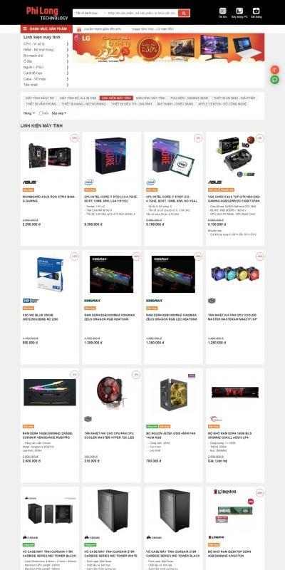 Mẫu thiết kế website bán hàng Linh kiện máy tính, linh kiện build PC chính hãng giá rẻ, Uy tín chấ_ – philong.com.vn