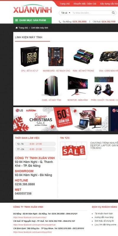 Mẫu thiết kế website bán hàng Linh kiện máy tính – xuanvinh.vn