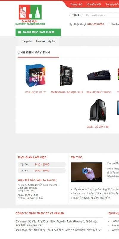 Mẫu thiết kế website bán hàng Linh kiện máy tính – vitinhnaman.com