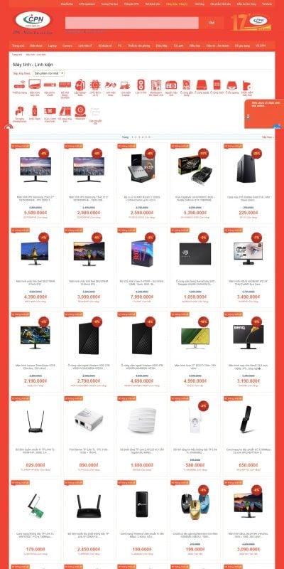 Mẫu thiết kế website bán hàng Linh kiện máy tính – cpn.vn