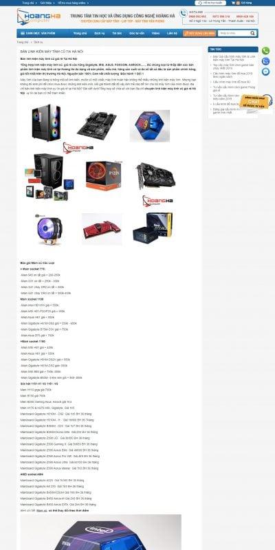 Mẫu thiết kế website bán hàng Bán linh kiện máy tính cũ giá rẻ tại Hà Nội – Máy tính Hoàng Hà_ – maytinhhoangha.com