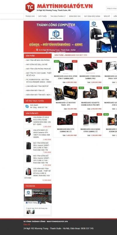 Mẫu thiết kế website bán hàng MAINBOARD SOCKET 1151 – Vi Tính Thành Công – maytinhgiatot.vn