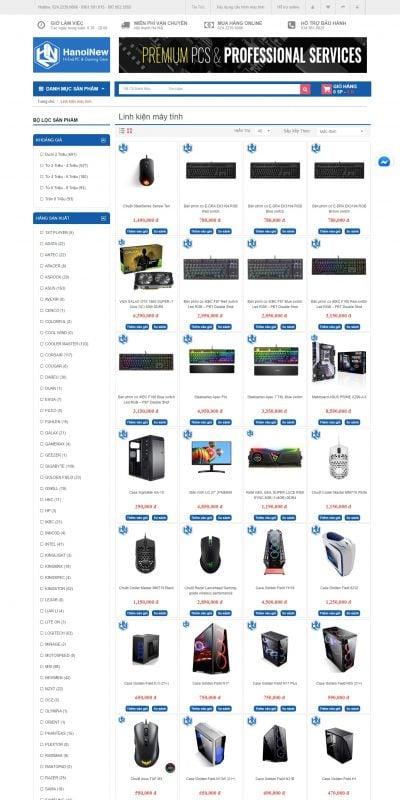 Mẫu thiết kế website bán hàng Linh kiện máy tính – hanoinew.vn