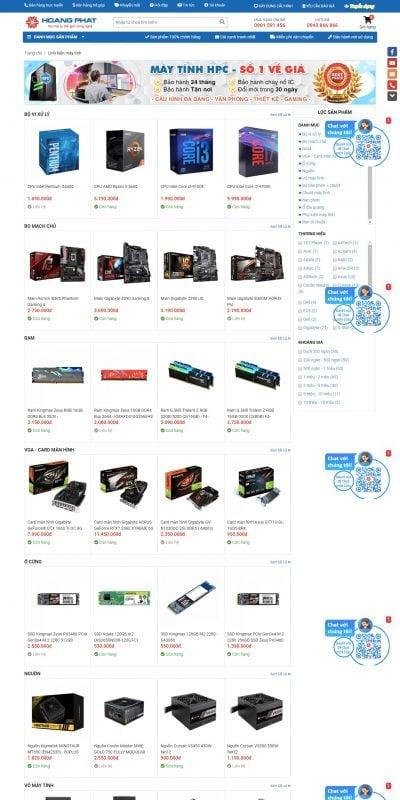 Mẫu thiết kế website bán hàng Linh kiện máy tính – hoangphatvn.vn