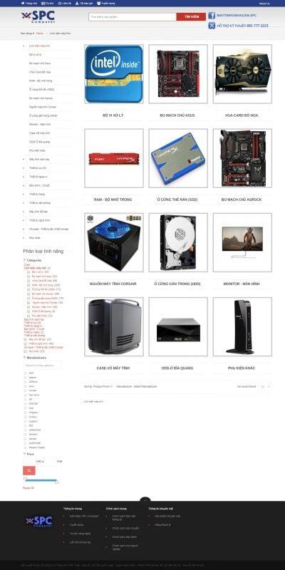 Mẫu thiết kế website bán hàng Linh kiện máy tính – spc.com.vn