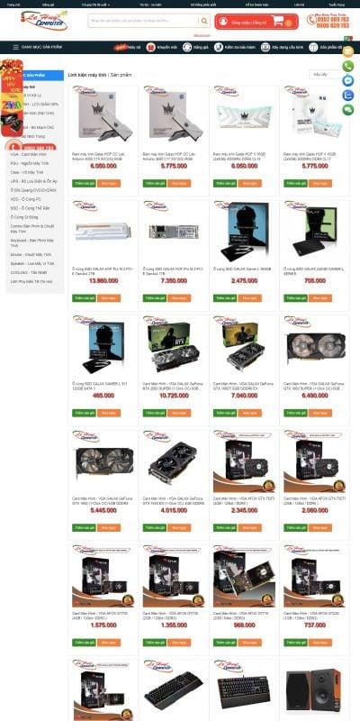 Mẫu thiết kế website bán hàng Linh kiện máy tính – www.vitinhlehuy.com