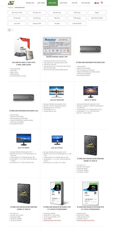 Mẫu thiết kế website bán hàng Linh kiện Máy Tính – anhngoc.vn