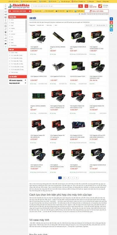 Mẫu thiết kế website bán hàng Linh kiện – chinhnhan.vn