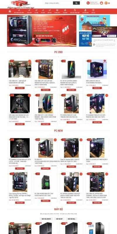 Mẫu thiết kế website bán MÁY TÍNH – LINH KIỆN – GIÁ SỈ – vitinhnguyenthang.com