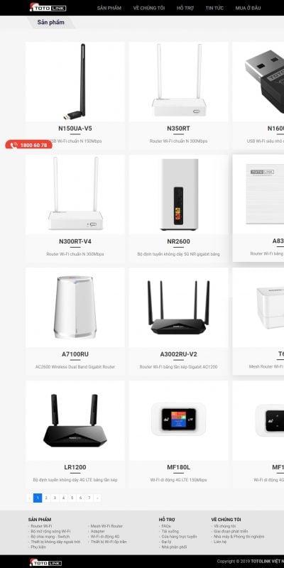 Mẫu thiết kế website bán hàng Sản phẩm – TOTOLINK Việt Nam – www.totolink.vn