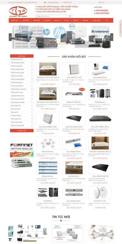 Mẫu thiết kế website bán hàng Cung cấp thiết bị mạng, tư vấn & triển khai mạng – thegioimang.vn