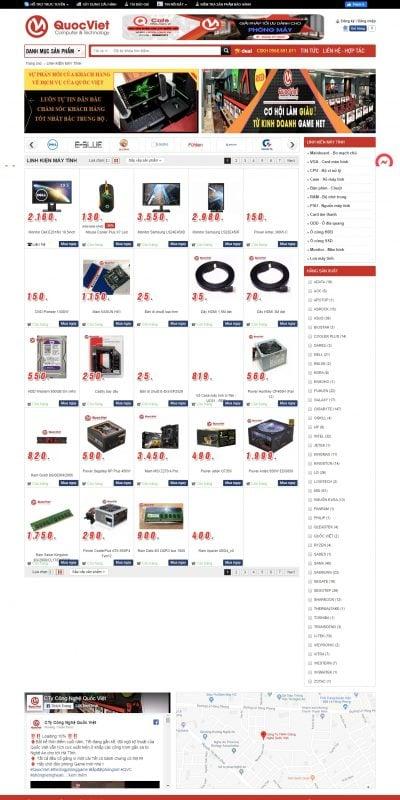 Mẫu thiết kế website bán  Linh kiện máy tính giá rẻ tại Nghệ An – qvc.vn