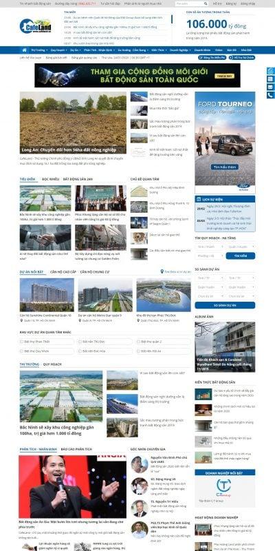 Mẫu thiết kế website tin tức CafeLand.Vn-Thị trường bất động sản, thông tin mua bán nhà đất –