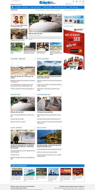 Mẫu thiết kế website tin tức dautubds.baodautu.vn-Đầu tư Bất động sản – Thông tin thị trường Bất động sản của Baodautu.vn