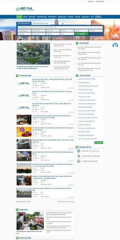 Mẫu thiết kế website tin tức dothi.net-Đô thị, Bất động sản, Mua bán nhà đất, Cho thuê nhà đất